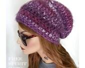 Winter Hat, Chunky Slouchy Beanie, Purple Beanie, Warm Hat, Beanie, Boho Chic, Knit Hat, Purple Stripes,Women's hat, Gift for teens