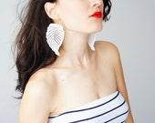 Chiara Leaf Earrings Dangle Earrings Lace Earrings Statement Earrings White Earrings Bridal Earrings Wedding Earrings