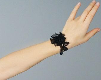 Lace Bracelet Statement Jewelry Women Accessory Women Fashion Body Jewelry For Her Black Bracelet Fashion Accessory / BARDANO