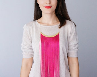 Summer Party Summer Outdoors Fringe Necklace Statement Necklace Arc Necklace Pink Necklace Gold Necklace Fringe Jewelry For Her / CHEORA