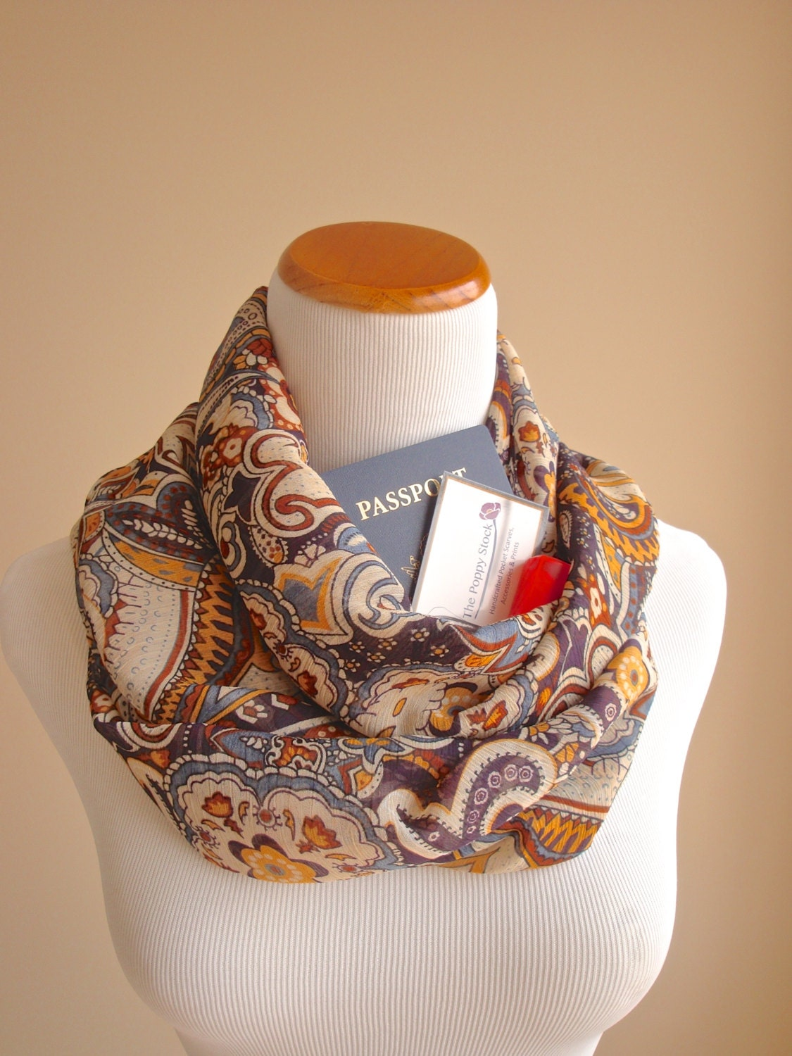 Paisley Infinity Pocket Scarf Spring Scarf Passport Holder