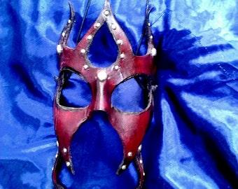 Deep Maroon Studded Leather Mask