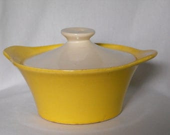Vintage Yellow and White Oven-Proof Dish with Lid