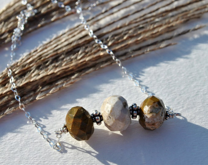 Brown and White Ocean Jasper stones on Sterling Silver chain necklace  boho, minimalist, simple