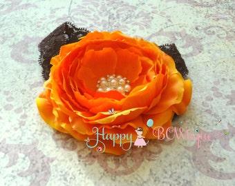 Fall headband, Large Peony Chocolate Orange Headband, baby girl headband, Halloween, Thanksgiving headband, Rustic Country, Orange headband