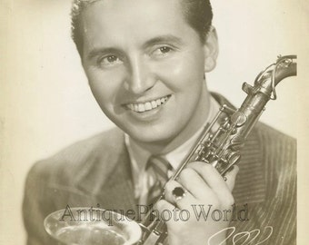 Hal McIntyre with saxophone jazz orchestra leader antique photo