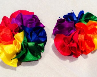 Rainbow Pigtail Clippies