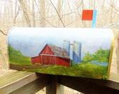 Mailbox Farm Barn Covered Bridge Handpainted Rural Mailbox Farm Scene Country Farmhouse Salvage