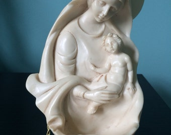 Vintage Madonna and Child Infant Jesus Alabaster