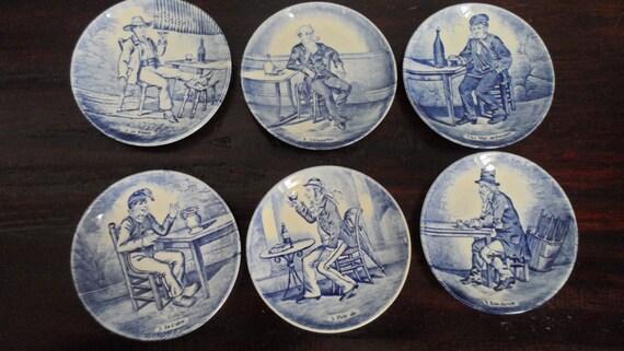 Antique Boch Delft Blue Transfer Ware Collectible Plates