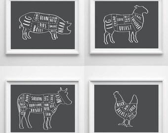 A3 Set of 4 Butcher Prints - butcher chart - butcher diagram - meat cuts print - butcher poster - butcher wall art