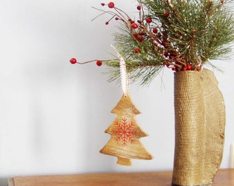Wooden Christmas tree, miniature vintage Christmas tree outline with a red snowflake, rustic, boho, Xmas decor, Christmas craft supplies