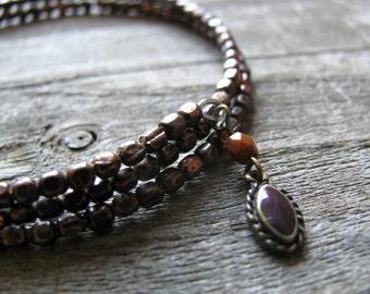 Antiqued Copper Beaded Bangle, Beaded Bracelet, Gypsy Jewelry, Stacking Bracelet, Boho, Hippie, Eco-Friendly, Upcycled, Layering Bracelet