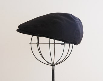 Black Newsboy hat, toddler newsboy hat, kids newsboy hat, black flat cap, driving hat, boys paper boy hat - made to order