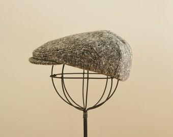 Black tweed wool newsboy hat, baby newsboy hat, baby photo prop newsboy hat  - made to order