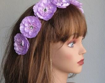 Purple Flower Hair  Clip Wedding Accessory Hair Clip Bridal Accessory Crystals