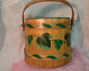 Vintage Jerywil Hand Tole Painted Wooden Bucket