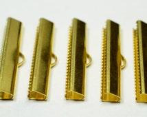 30 Pcs Raw Brass 6 x30 mm Ribbon Clamps ,Clasp , Findings