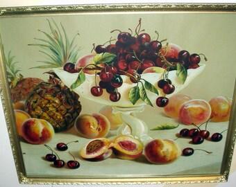 Red Cherries Still Life Fruit Bowl Peaches Pineapples Antique 1900 Chromolithograph Beautiful Vibrant Artist H Raymonn Old Frame Wavy Glass