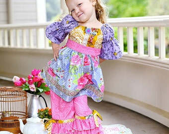 Sale....Buy 2 get 1 free...Instant Download PDF Sewing Pattern Easy Girl's Peasant Tunic Top or Dress Sash 3 sleeve lengths, 3-6 M to 10