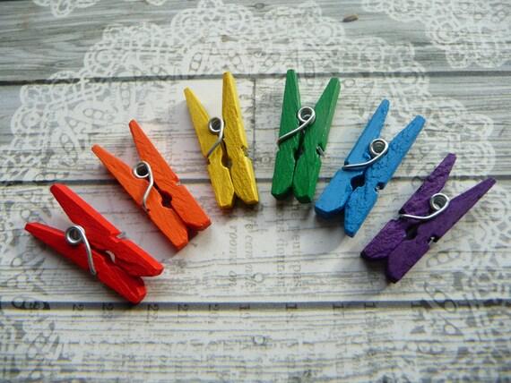 6 rainbow colors decorative mini wooden clothes pins clothes for Decorative pins for crafts