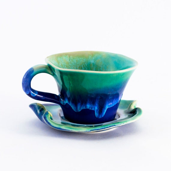 Cup coffee cappuccino ceramic stoneware potterylatte cup - unique handmade created with love to enamel colours - green turquoise white