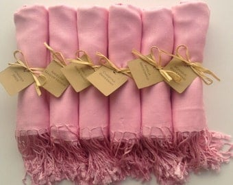 Blush Pink Shawls with Raffia Ribbon and Kraft Favor Tags, Set of 10, Pashmina, Wedding Favor, Bridal Shower Gift, Bridesmaids Gift, Wraps