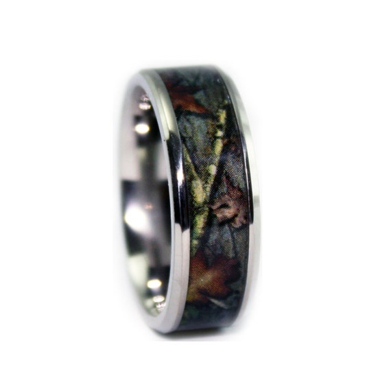 Camo wedding rings by one camo beveled titanium mens wedding for Camo mens wedding rings