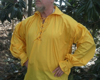 PIRATE POET RENAISSANCE viking tunic shirt in deep yellow/gold for men Custom To Fit