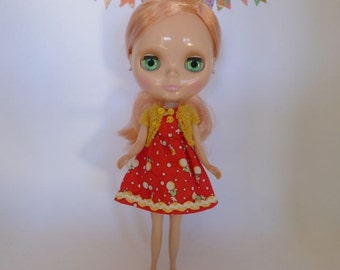 Neo Blythe or Bratz Doll Red Bunnies and Balloons Braid Trim Dress with Coordinating Knitted Short Sleeve Cardy