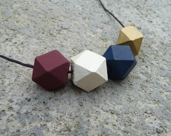 Geometric Wood Necklace // Hand Painted Wooden Faceted // Hedron Necklace - Burgundy, Gold, Navy