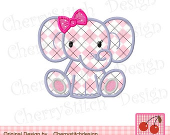Elephant Animal Machine Embroidery Applique -4x4 5x5 6x6""