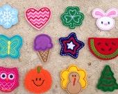12 Month Feltie Set - A Year of Felties - Seasonal Feltie Grab Bag - DIY Hair Clips - Assortment -  Felt Embroidery Embellishment