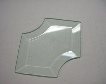 """Holly Bevels - Holly- or Arrow-Shaped Glass Bevel - 4+ inches by 2 3/4"""" Clear Glass Holly Bevels"""