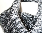 Infinity Scarf, Knitted, Ombre Black Gray and White Loop Women's Chunky Scarf - Gift Ideas - Winter Accessories- Gift for Her - Holidays
