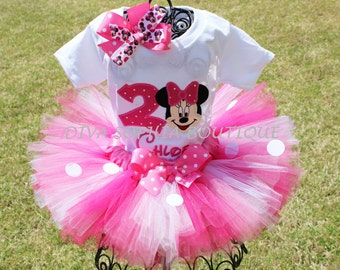 Personalized Pink Minnie Mouse Tutu Set with Number - Newborn - Baby Infant Toddler up to size 4T -  Birthday Set