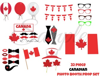 INSTANT Download Canadian CANADA Day 32 piece Photo Booth Props PRINTABLE Download - Craft Decoration Party diy