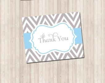 Thank You Card - Chevron gray & blue