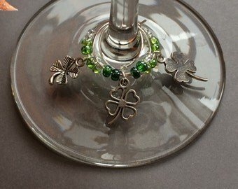 Luck of the Irish Wine Charm Set of 6 - St. Patrick's Day Wine Charms