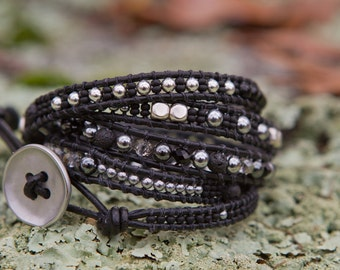 MADE TO ORDER.  Wrap bracelet, black and silver.
