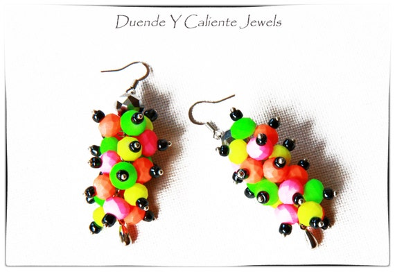 Dangle neon earrings, Shocking neon crystal earrings, Bright color earrings, Pink orange yellow green earrings, Hematite earrings