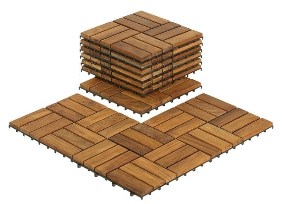Bare Decor U Snap Interlocking Flooring 12 X12 Tiles In Solid Teak
