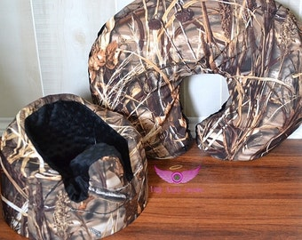Real Tree Advantage Max 4 HD Camo and Black Bumbo Cover and Boppy Pillow Cover Set