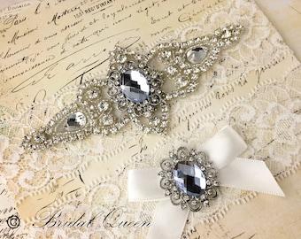 Wedding garter set,  Bridal Garter set, Lace Garter, Crystal Garter, Garter, Rhinestone Garter
