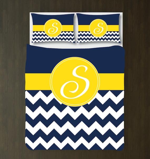 Navy blue yellow white chevron duvet cover bedding - Navy blue and yellow bedding ...