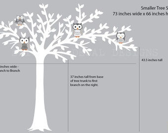 Owl tree wall decal, Blowing Tree wall decal, owl wall decal, grey and white chevron, Smaller Shades of Grey Design / white tree