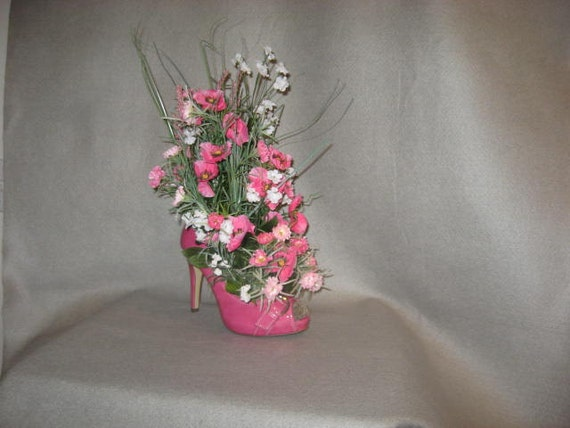 Hot pink shoe bridal shower centerpiece wedding decoration