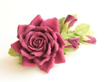 Hair barrette polymer clay flower. Burgundy  rose with buds.