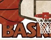 BASKETBALL, Digital Embellishments Clip Art Word Overlay   textured basketball quote net backboard