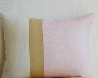 Pink Lumbar Pillow Cover, Color Block, Couch Pillows, Linen Cushion Cover, Throw Pillow 12X20 Pink Linen Pillows, Housewarming Gift